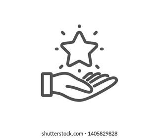 Loyalty program line icon. Bonus points. Discount star symbol. Quality design element. Linear style loyalty program icon. Editable stroke. Vector