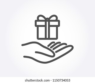 Loyalty program line icon. Gift box sign. Present symbol. Quality design element. Classic style. Editable stroke. Vector