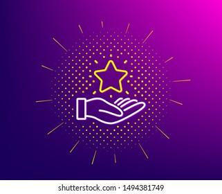 Loyalty program line icon. Halftone pattern. Bonus points. Discount star symbol. Gradient background. Loyalty program line icon. Yellow halftone pattern. Vector