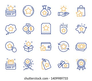 Loyalty program line icons. Bonus card, Redeem gift and discount coupon signs. Lottery ticket, Earn reward and winner gift icons. Shopping bag, loyalty card and lottery present. Vector