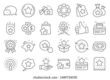 Loyalty program line icons. Bonus card, Redeem gift and discount coupon signs. Lottery ticket, Earn reward and winner gift icons. Shopping bag, loyalty card and lottery present. Line signs set. Vector
