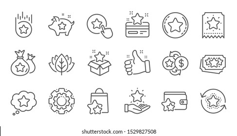 Loyalty program line icons. Bonus card, Redeem gift and discount coupon signs. Lottery ticket, Earn reward and winner gift icons. Linear set. Quality line set. Vector