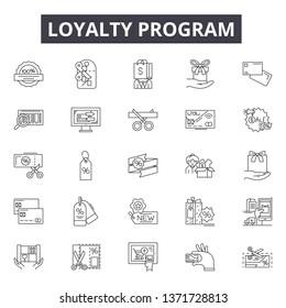 Loyalty program line icons, signs set, vector. Loyalty program outline concept, illustration: program,loyalty,reward,bonus,gift,marketing,perks