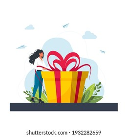 Loyalty Program for Regular Clients Concept.Business concept. Woman holds big gift box. Woman with a gift box. Gift for the holiday. girl standing next to large gift. Vector illustration