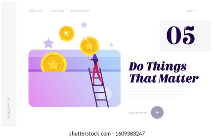 Loyalty Program Service, Rewards Points and Bonus System to Regular Clients Website Landing Page. Woman Stand on Ladder Put Gold Coins to Plastic Card Web Page Banner. Cartoon Flat Vector Illustration
