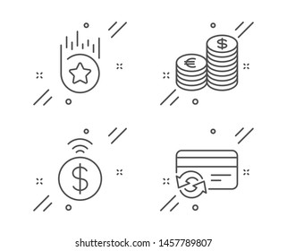 Loyalty star, Contactless payment and Currency line icons set. Change card sign. Bonus reward, Financial payment, Euro and usd. Finance set. Line loyalty star outline icon. Vector