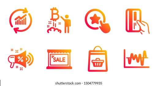 Loyalty star, Sale megaphone and Payment card line icons set. Update data, Bitcoin project and Sale signs. Online buying, Stock analysis symbols. Bonus reward, Shopping. Finance set. Vector