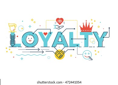 Loyalty word lettering typography design illustration with line icons and ornaments in blue theme
