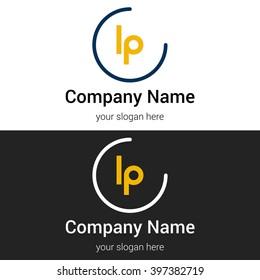 LP business logo icon design template elements. Vector color sign.