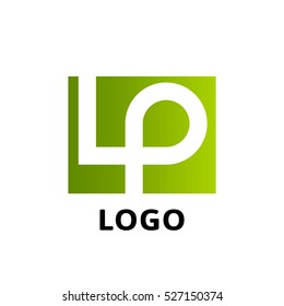 LP company logo vector template. Vector logo design with the LP initial letters in a square rectangle.