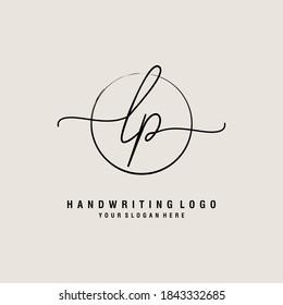 LP Initial handwriting logo template vector