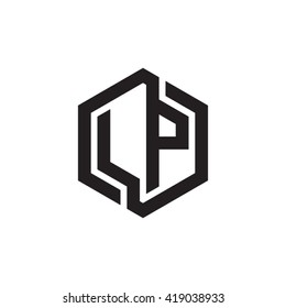 LP initial letters looping linked hexagon monogram logo