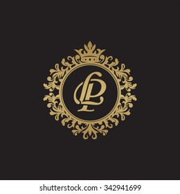 LP initial luxury ornament monogram logo