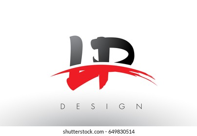 LP L P Brush Logo Letters Design with Red and Black Colors and Brush Letter Concept.