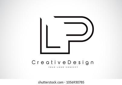 LP L P Letter Logo Design in Black Colors. Creative Modern Letters Vector Icon Logo Illustration.