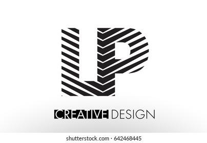 LP L P Lines Letter Design with Creative Elegant Zebra Vector Illustration.