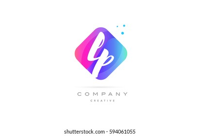 lp l p  pink blue rhombus abstract 3d alphabet company letter text logo hand writting written design vector icon template