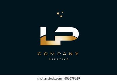 lp l p  white yellow gold golden metal metallic luxury alphabet company letter logo design vector icon template