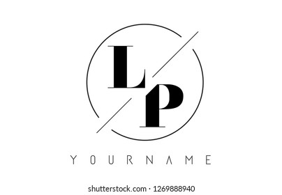 LP Letter Logo with Cutted and Intersected Design and Round Frame Vector Illustration