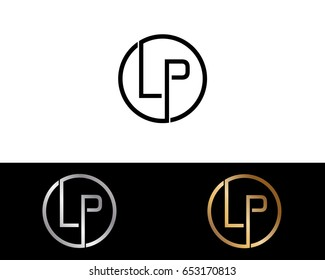 Lp Logo. Letter Design Vector with Red and Black Gold Silver Colors