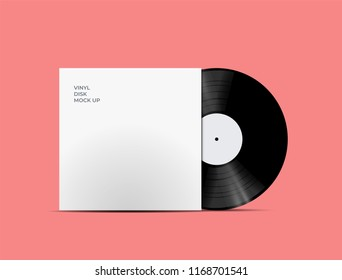 LP Record Vinyl Disc Cover with Vinyl disc inside. Realistic vector mock up. Vector Illustration.