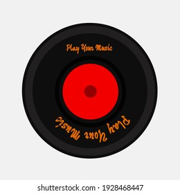 LP with a red label. Black music album disc. old technology, realistic retro design, vector art image illustration, isolated on white background. Location Dieng, Wonosobo, Central Java, Indonesia.