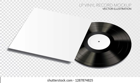 LP vinyl record mockup with blank cover and label, vector illustration