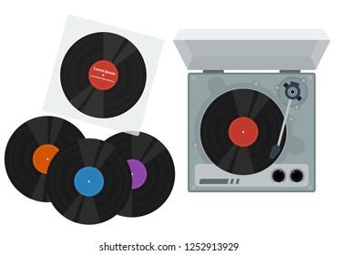 LP vinyl record music flat vector design. retro music player bring nostalgic scene