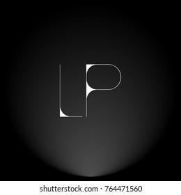 LP White thin minimalist LOGO Design with Highlight on Black Background.