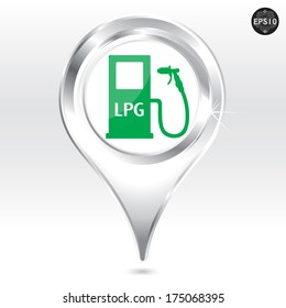 LPG filling station pin pointer, Vector, eps10