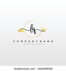LQ handwriting initial logo template vector.