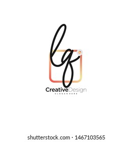 LQ initial handwriting with color logo icon template vector.