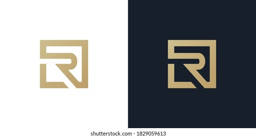 LR or L R logo . LR logo Premium monogram letter LR initials logotype. Elegant letter L R on Square vector logo. vector illustration eps10