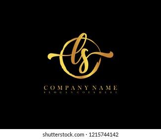 LS initial handwriting logo circle template vector