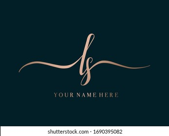 LS monogram logo. Typographic icon with calligraphic script letter l and letter s.Lettering icon. Alphabet initials isolated on dark background. Signature style sign decorative lowercase characters.