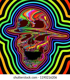 LSD psychedelic skull. Vector illustration of skull with colorful trippy outlines growing bigger from the center on black background.
