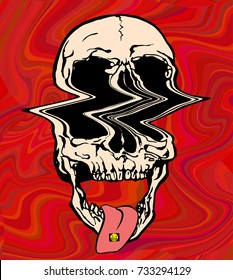 LSD psychedelic skull. Vector illustration of skull on acid on trippy red background.