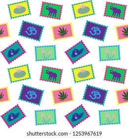 LSD stamps colorful with peyote elephant om cannabis hand mushroom trip psychedelic drug on a white background seamless pattern vector