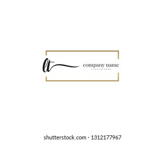 LT Initial handwriting logo vector. Hand lettering for designs.