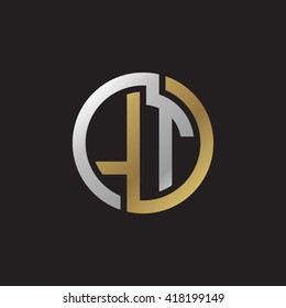 LT initial letters looping linked circle elegant logo golden silver black background