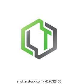 LT initial letters looping linked hexagon logo black green