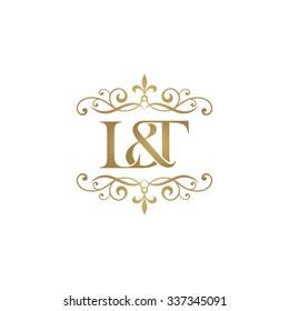 L&T Initial logo. Ornament ampersand monogram golden logo