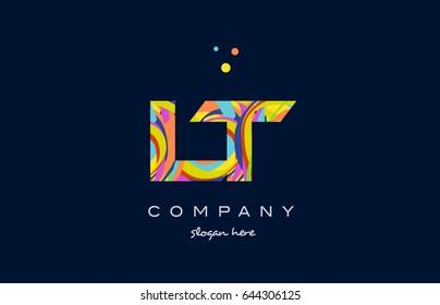 lt l t alphabet letter logo colors colorful rainbow acrylic font creative text dots company vector icon design template