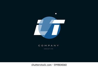 lt l t  blue circle dot big font alphabet company letter logo white design vector icon template