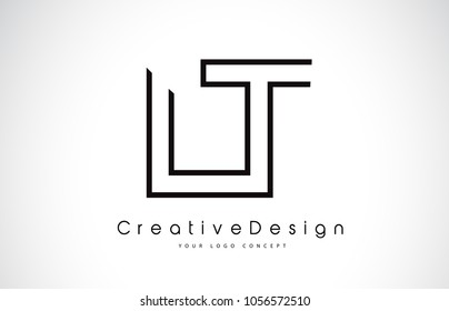 LT L T Letter Logo Design in Black Colors. Creative Modern Letters Vector Icon Logo Illustration.