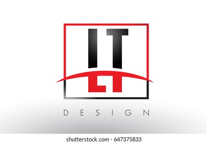 LT L T Logo Letters with Red and Black Colors and Swoosh. Creative Letter Design Vector.