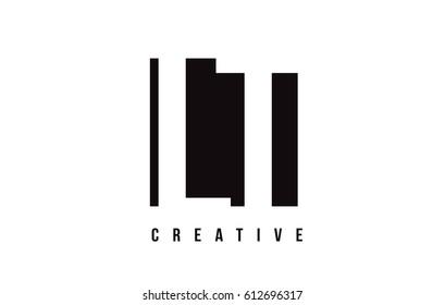 LT L T White Letter Logo Design with Black Square Vector Illustration Template.