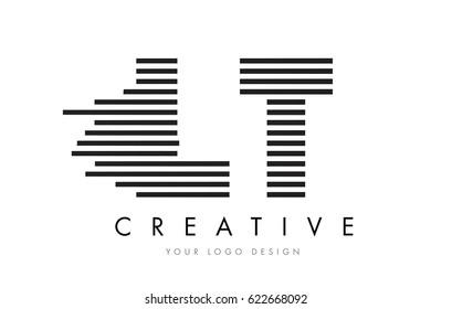 LT L T Zebra Letter Logo Design with Black and White Stripes Vector