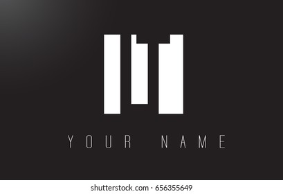LT Letter Logo With Black and White Letters Negative Space Design.