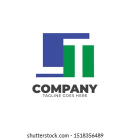LT LETTER LOGO DESIGN WITH NEGATIVE SPACE CONCEPT IN RECTANGLE SHAPE.